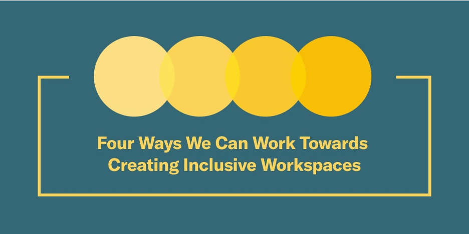 """Four overlapping yellow circles, each a slightly deeper yellow than the last. Text below reads: """"Four Ways We Can Work Towards Creating Inclusive Workspaces"""""""